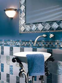 Here's a fun use of blue and white in the bath.