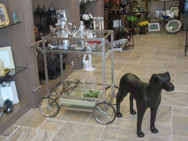 Here's a more traditionally shaped cart, but it, too, has a contemporary look. Love the dog standing by to greet me! This is the sort of dog I need, the kind that doesn't shed.
