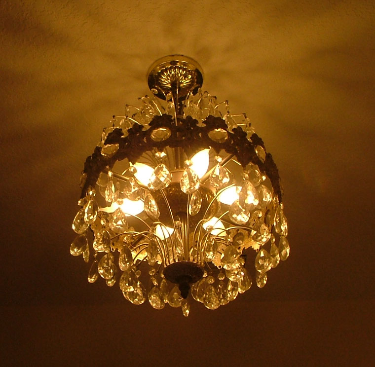 Antiques in the Bathroom – Used Crystal Chandelier