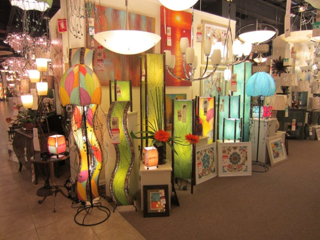 This awesome display of fun lighting really caught my eye today as I shopped at one of my very favorite lighting stores, Franklin Lighting.