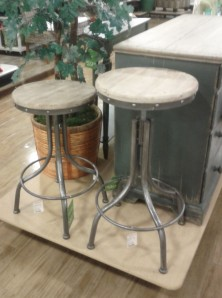 These metal and wood bar stools have that industrial look that can really be mixed with some more sophisticated pieces to create a great eclectic space. Have Fun with Your Interior!
