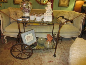 Lovely Antiqued-Gold Vintage Beverage Cart.
